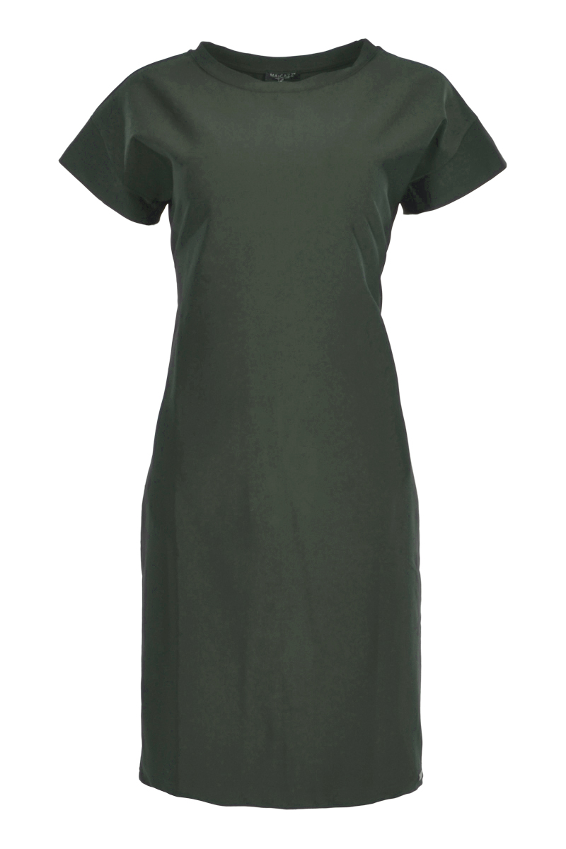 Tuniek/jurk met korte mouwen  en een ronde kraag.