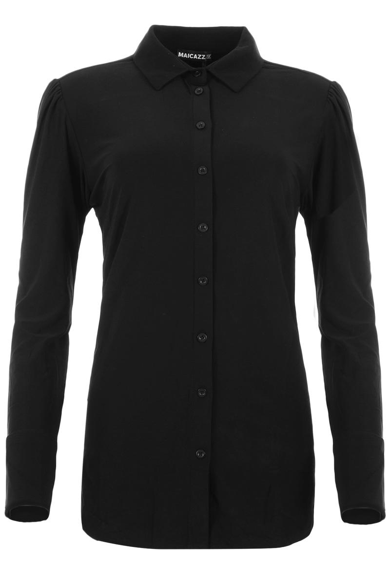 Valerie is een elegante blouse met overhemdkraag en lange pofmouwen. Ze heeft extra brede manchetten met een 3-knoops-sluiting. De blouse heeft een deels dichtgestikte knoopsluiting met ton-sur-ton knopen en een mooie afgeronde zoom. Valerie heeft een heerlijke Sandy kwaliteit en komt uit de Maicazz herfstcollectie 2021. De blouse valt normaal qua maat en is te verkrijgen in het Gold Lurex, Offwhite en Black. Blouse    <ul> <li>Blouse</li> <li>Platte overhemdkraag</li> <li>Deels dicht gestikte knoopsluiting (ton-sur-ton)</li> <li>Lange pofmouwen</li> <li>Extra brede manchetten met 3-knoops-sluiting</li> <li>Afgeronde zoom</li> <li>Bestseller model Valerie</li> <li>Valt normaal qua maat</li> <li>Maicazz herfstcollectie 2021</li> <li>Te verkrijgen in het Gold Lurex, Offwhite en Black.</li> </ul>