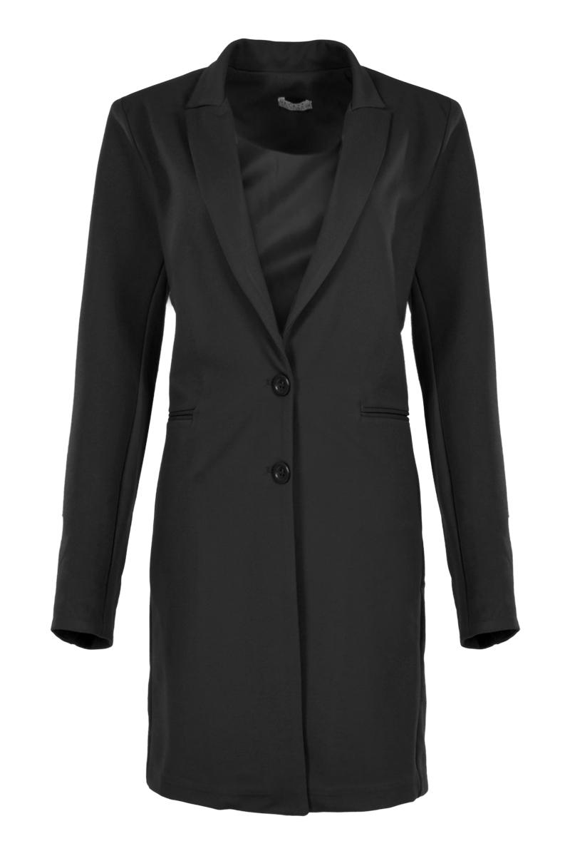 Lange jas van wool look stof.