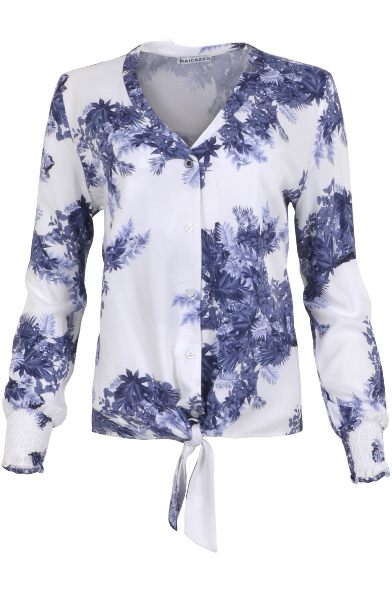 Blouse Najma is een heerlijk zittende blouse met een V-decolleté. De blouse heeft een doorlopende knoopsluiting en knoopbare zoom. Ze heeft normaal vallende bouwen met elastische zoom/manchet. Najma valt normaal qua maat en is verkrijgbaar in het Dots Blue en Leaf Blue.  <ul> <li>V-decolleté</li> <li>Normaal vallende mouwen met elastische zoom/manchet</li> <li>Doorlopende knoopsluiting</li> <li>Knoopbare zoom</li> <li>Valt normaal qua maat</li> <li>Verkrijgbaar in het Dots Blue en Leaf Blue</li> </ul>