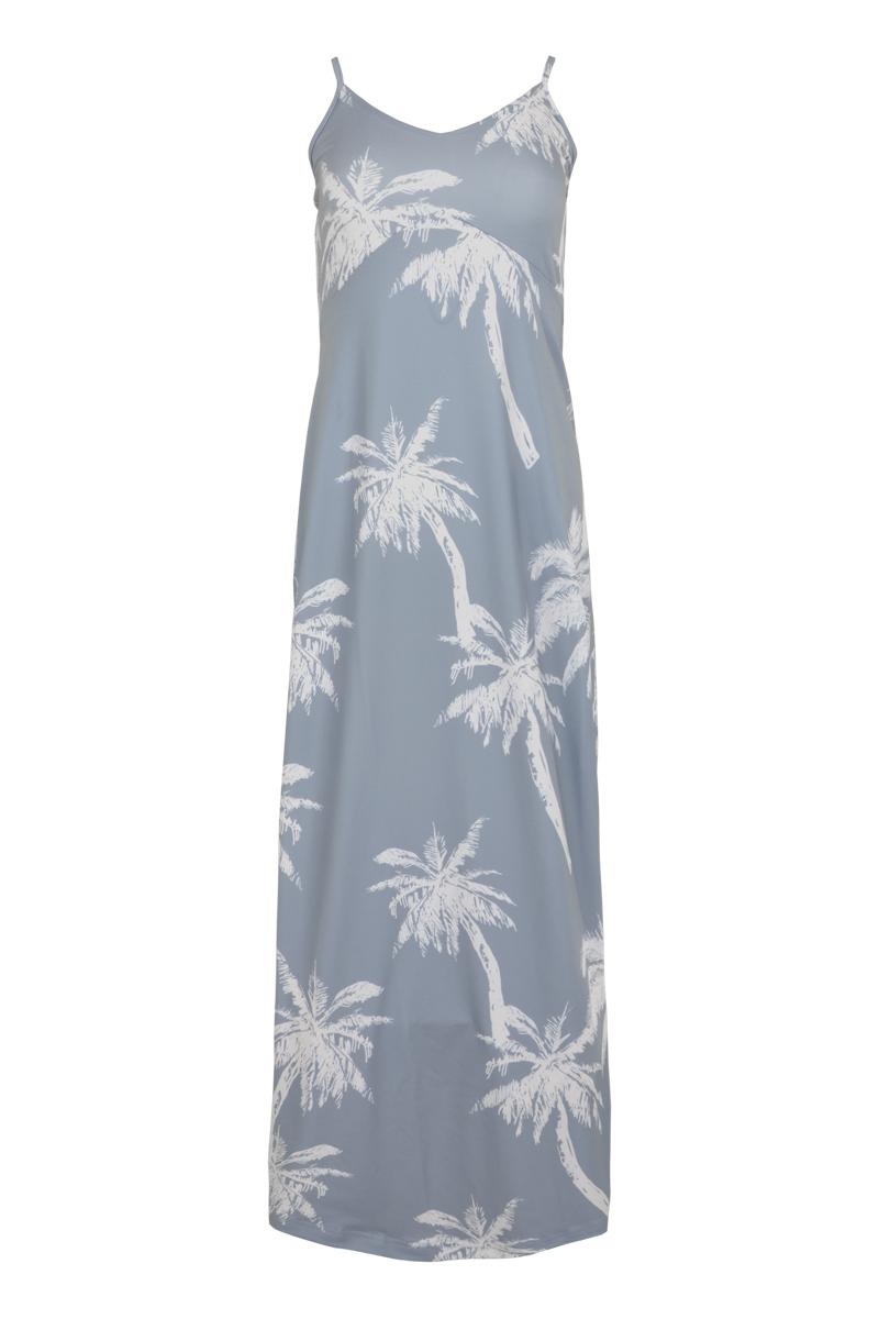 Jurk Tala is een mooie getailleerde jurk van zachte Viscose Lycra kwaliteit. De lange jurk heeft verstelbare spaghettibandjes, elastische rug en een V-hals. Tala valt normaal qua maat en is te verkrijgen in het Freaky Sand en Palm Seagreen.  <ul> <li>Lange jurk</li> <li>Verstelbare spaghettibandjes</li> <li>Getailleerd model</li> <li>All-over patroon</li> <li>Elastische rug</li> <li>V-Hals</li> <li>Valt normaal qua maat</li> <li>Model Tala</li> <li>Zachte Viscose Lycra kwaliteit</li> <li>Verkrijgbaar in het Freaky Sand en Palm Seagreen.</li> </ul>  <blockquote> Zomerse musthave </blockquote>