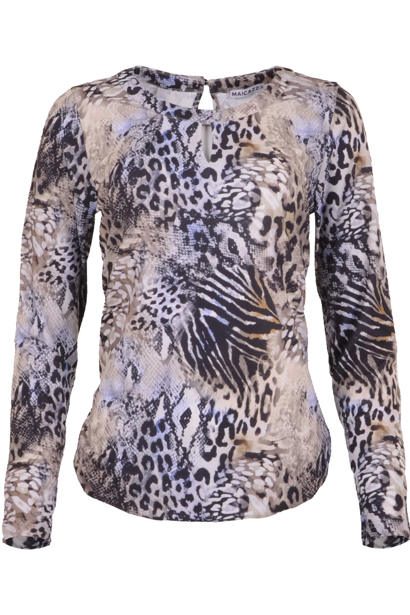 Basic danto top met elastiken boor in blue nature print