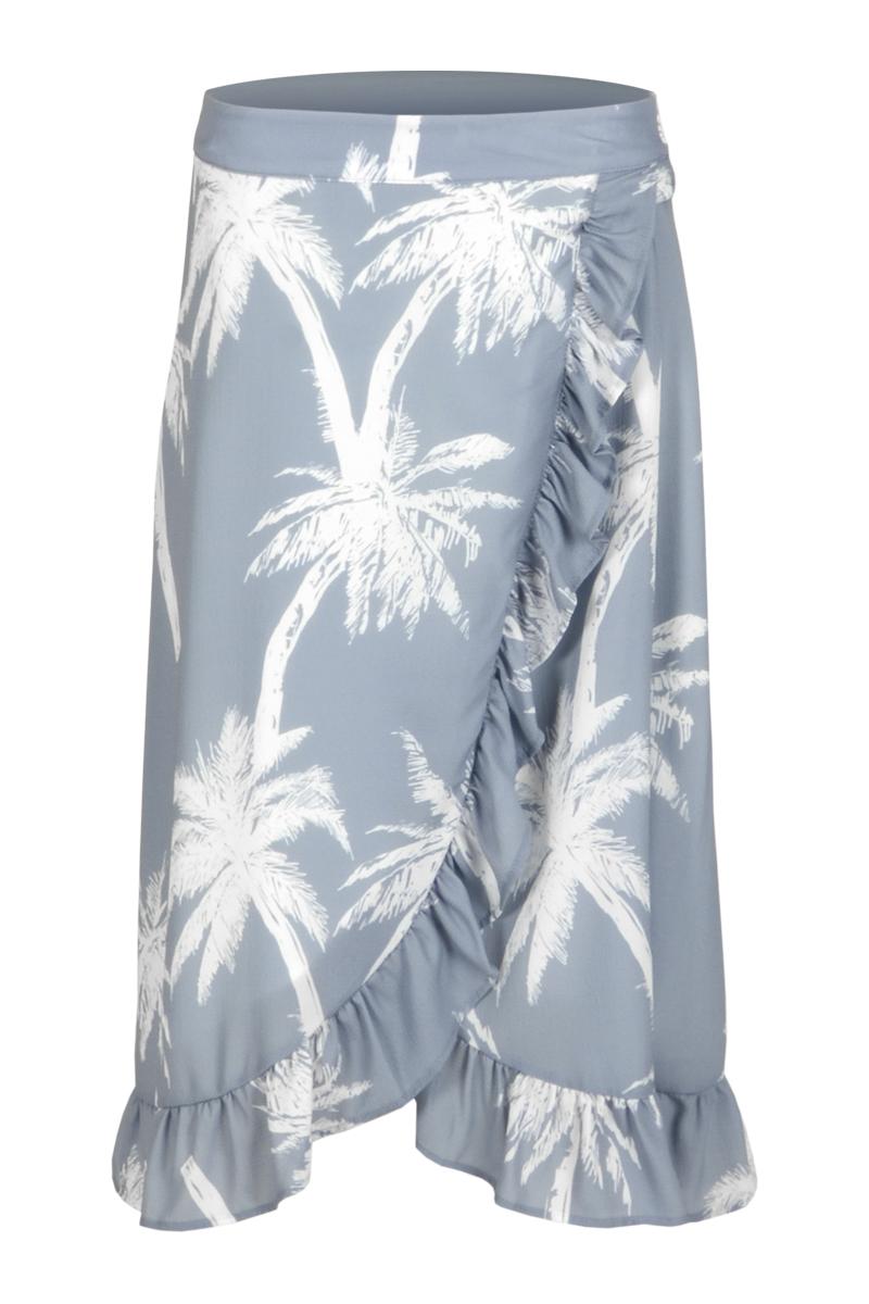 A-lijn rok Taria is een mooie zomerrok gemaakt van Crepe Lycra kwaliteit. Deze kwaliteit is perfect voor de zomer; luchtig, zacht en elastisch. De rok heeft een wikkel design met een asymmetrische zoom waar rushes / volant zijn aangebracht. Taria heeft een gevoerde, elastische tailleband en valt normaal qua maat. De rok heeft een all-over patroon en is te verkrijgen in het Fruity Black en Palm Seagreen.    <ul> <li>A-lijn rok</li> <li>Wikkel design</li> <li>Gedrapeerd</li> <li>Asymmetrische zoom</li> <li>Rushes / volant aan de zoom</li> <li>Elastische tailleband</li> <li>Gevoerde tailleband</li> <li>All-over patroon</li> <li>Valt normaal qua maat</li> <li>Model Taria</li> <li>Crepe Lycra kwaliteit</li> <li>Verkrijgbaar in het Fruity Black en Palm Seagreen.</li> </ul>  <blockquote> Zomerse musthave </blockquote>