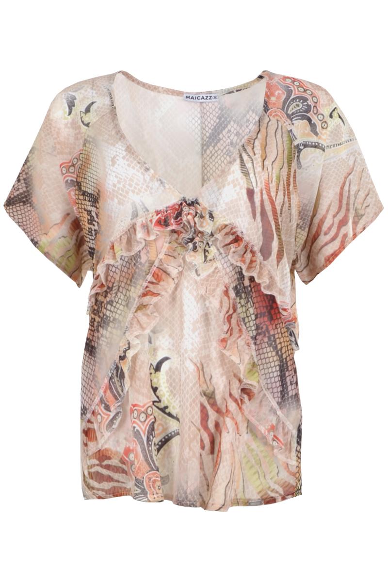 Sifon stoffen blouse met korte mouwen. Blouse is afgewerkt met gerimpelde band op de voorkant