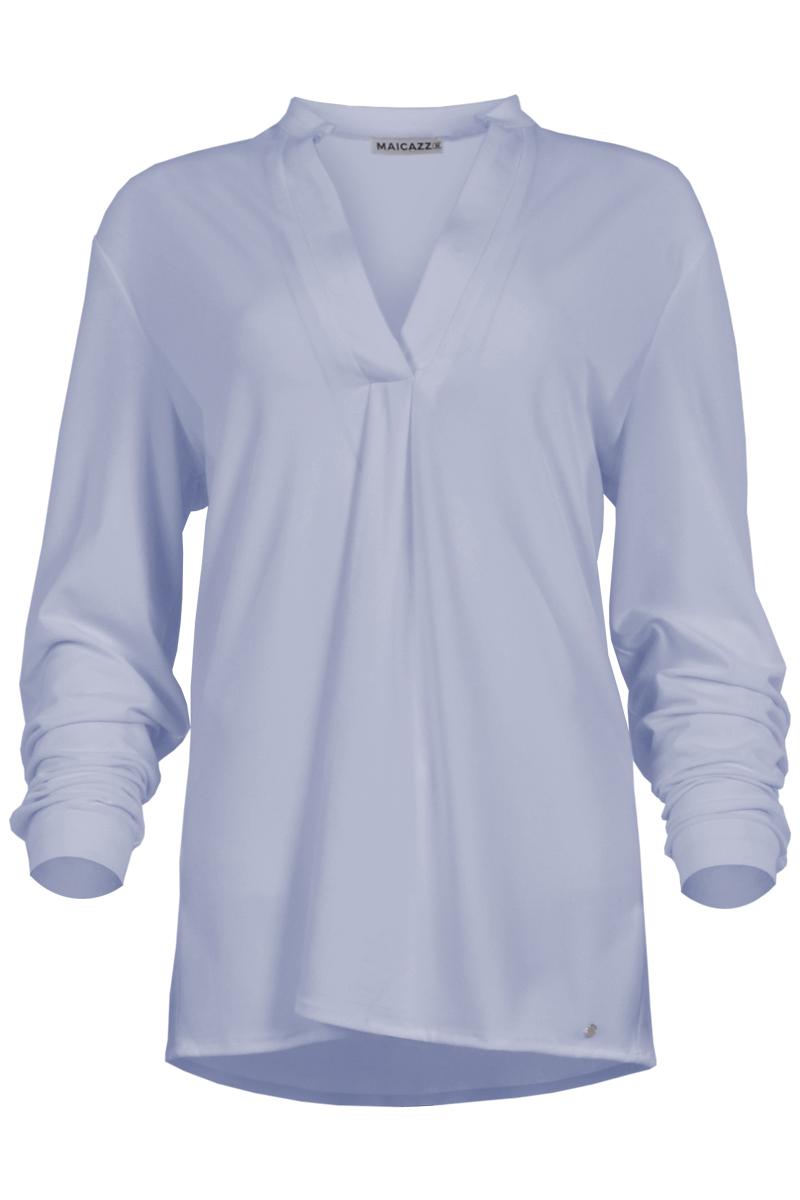 Blouse Syenna is een soepel vallende blouse met ronde hals en diepe V-split. De boord is openstaand en mooi afgewerkt. De blouse heeft lange mouwen en iets verlaagde schoudernaden. Syenna heeft een zachte Poly Lycra kwaliteit en valt normaal qua maat. De is verkrijgbaar in het Fuchsia, Sky Blue, Lime en Offwhite.  <ul> <li>Ronde hals</li> <li>Diepe V-split</li> <li>Openstaand mooi afgewerkte halsboord</li> <li>Lange mouwen</li> <li>Iets verlaagde schoudernaden</li> <li>Valt normaal qua maat</li> <li>Soepel vallende Poly Lycra kwaliteit</li> <li>Verkrijgbaar in het Fuchsia, Sky Blue, Lime, Offwhite</li> </ul>