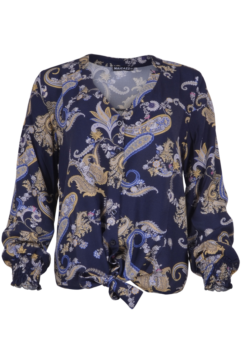 blouse met onderaan strik