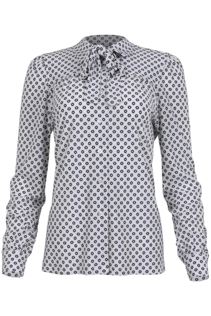 Blouse Raia is een blouse van travel kwaliteit met gedeeltelijke knoopsluiting middenvoor. De blouse heeft een puntkraag met los strik-lint waardoor deze ook zonder te dragen is. Raia heeft lange mouwen en manchetten met enkele knoop. Aan de voorzijde, op het rugpand en bij de mouw-inzet heeft ze extra ingestikte plooitjes. Blouse Raia valt normaal qua maat en is te verkrijgen in het Dots off-white / black, fuchsia Triangle en Lime Stone.   <ul> <li>Puntkraag</li> <li>Gedeeltelijke knoopsluiting middenvoor</li> <li>Los strik-lint bij de kraag</li> <li>extra ingestikte plooitjes voor, op het rugpand en mouw-inzet.</li> <li>Draagt erg comfortabel</li> <li>Lange mouwen</li> <li>Manchetten met enkele knoop</li> <li>Model Raia</li> <li>Valt normaal qua maat</li> <li>Te verkrijgen in het Dots off-white / black, Fuchsia Triangle en Lime Stone.</li> </ul>