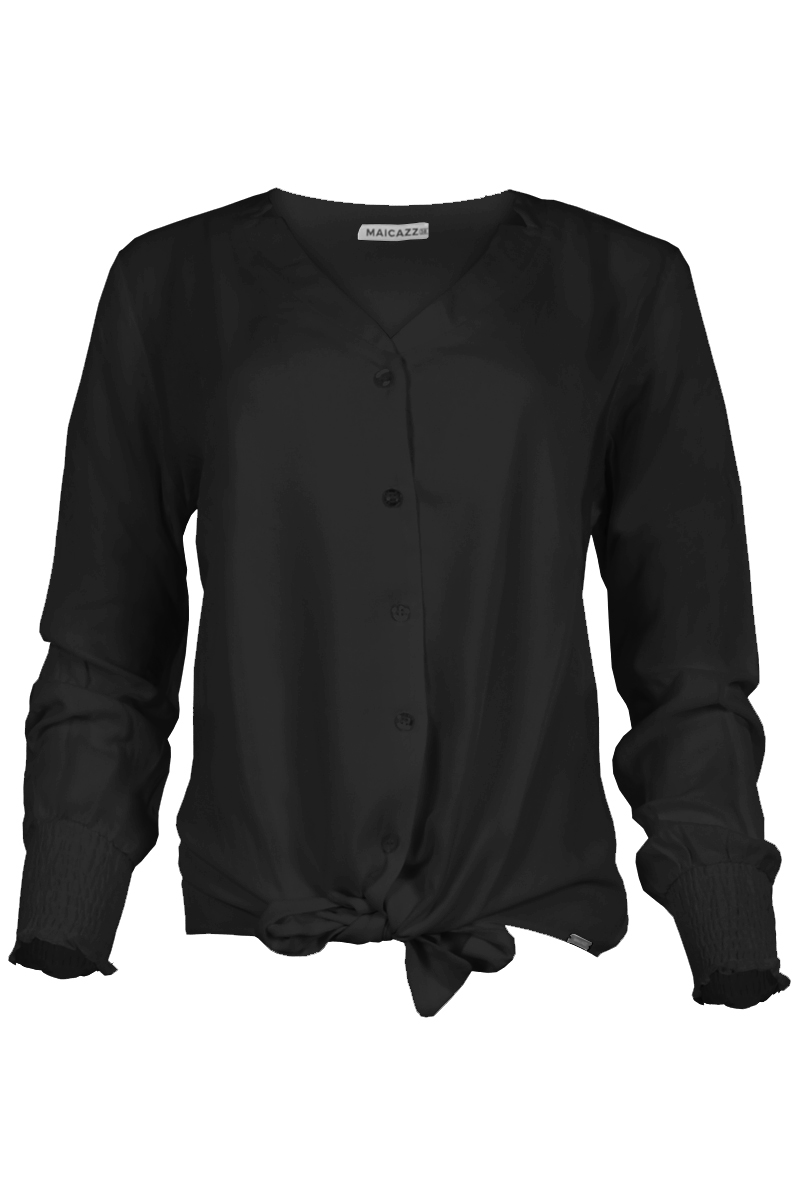 Blouse met v decolleté en  knoop baar zoom