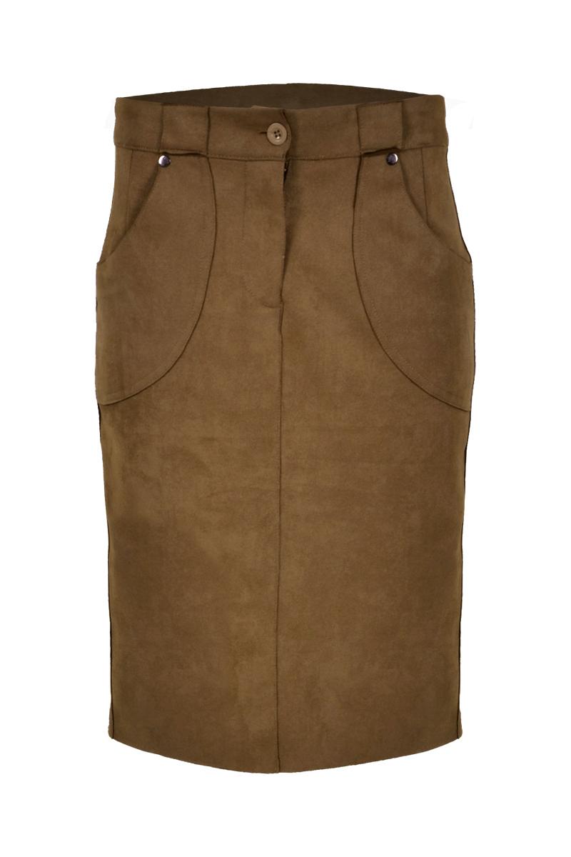 Suedine rok met opgezette zakken en suedine ceintuur