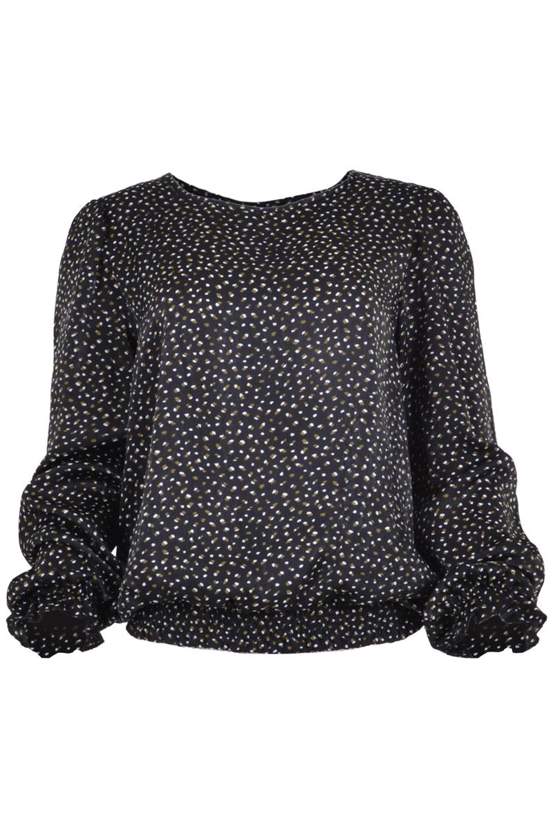 blouse met ronde hals, elastische band en manchet