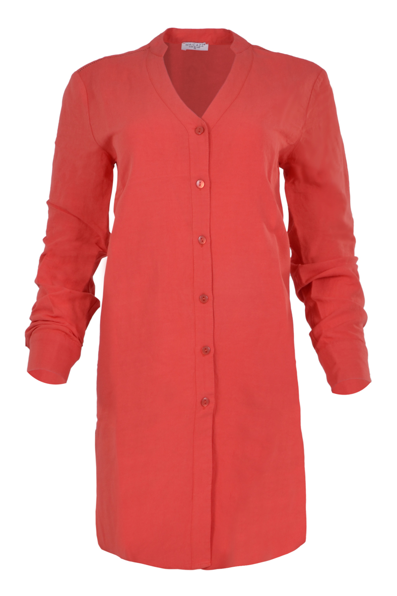 lange linnen blouse met knoopsluiting