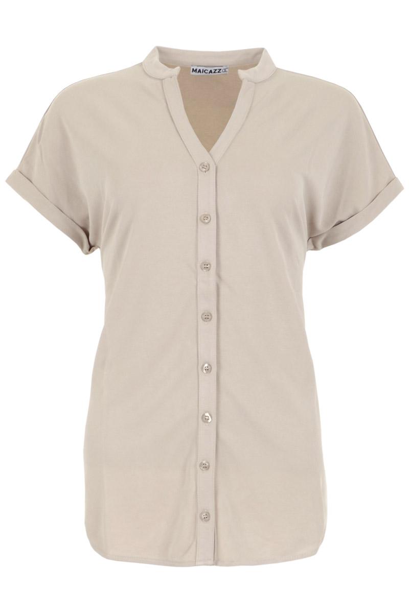 Blouse Ticanore (zomercollectie 2021) is gemaakt van een zachte viscosemix. De blouse heeft een korte mouw met dubbelgeslagen zomen en een ronde hals met doorlopende knoopsluiting. Ticanore is mooi afgewerkt en heeft afgeronde zomen. Blouse Ticarnore valt normaal qua maat en is te verkrijgen in het Antracite en Sand.  <br /> Blouse<br /> Korte mouw<br /> Ronde hals met boord<br /> Doorlopende knoopsluiting<br /> Dubbelgeslagen mouwzomen<br /> Afgeronde zoom<br /> Model Ticanore<br /> Cotton, lycra, viscose kwaliteit<br /> Valt normaal qua maat<br /> Te verkrijgen in het Antracite en Sand