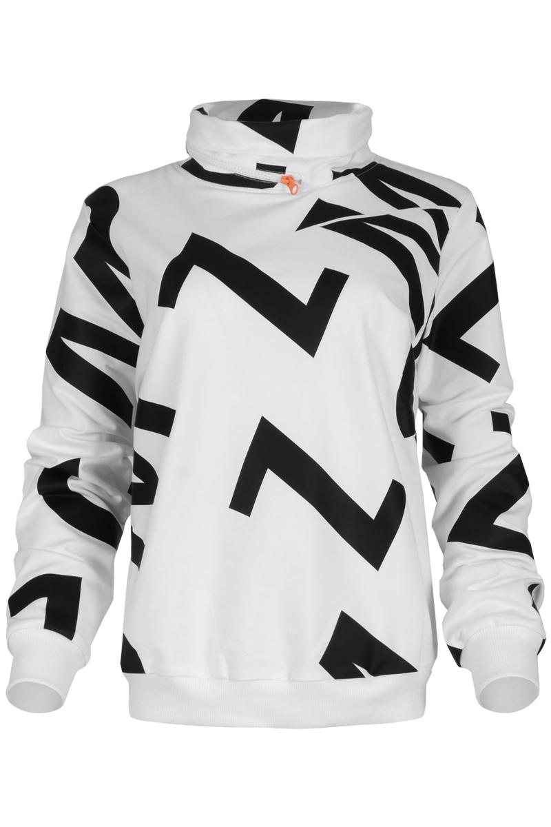Sweater Valida is een gave sweater uit de Maicazz herfstcollectie 2021. De trui heeft een opstaande kraag met decoratieve rits en een MCZZ-logo all-over print. De sweater heeft lange mouwen met riggebreide afwerking bij de manchetten en boord. Valida is gemaakt van een comfortabele French Terry kwaliteit en hoort iets ruimer te vallen. Ze is te verkrijgen in het zwart en wit.    <ul> <li>Sweater</li> <li>Openstaande kraag met deco rits</li> <li>MCZZ logo all-over print</li> <li>Lange mouwen</li> <li>Brede ribgebreide afwerking bij manchetten en zoom</li> <li>Gemaakt van comfortabele French Terry kwaliteit</li> <li>Hoort iets ruimer te vallen</li> <li>Te verkrijgen in het zwart en wit.</li> </ul>