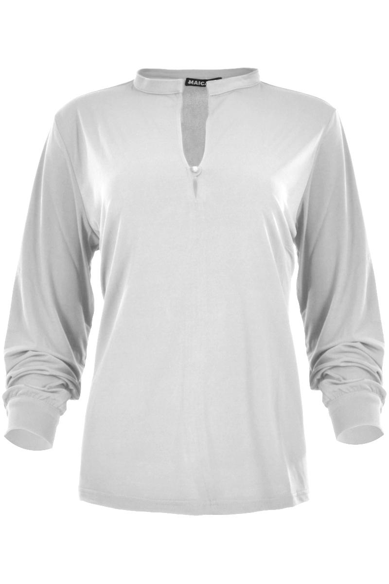 blouse met lange mouw en enkel knoopsluiting blouse heeft een recht opstaande kraag en is ruimvallen