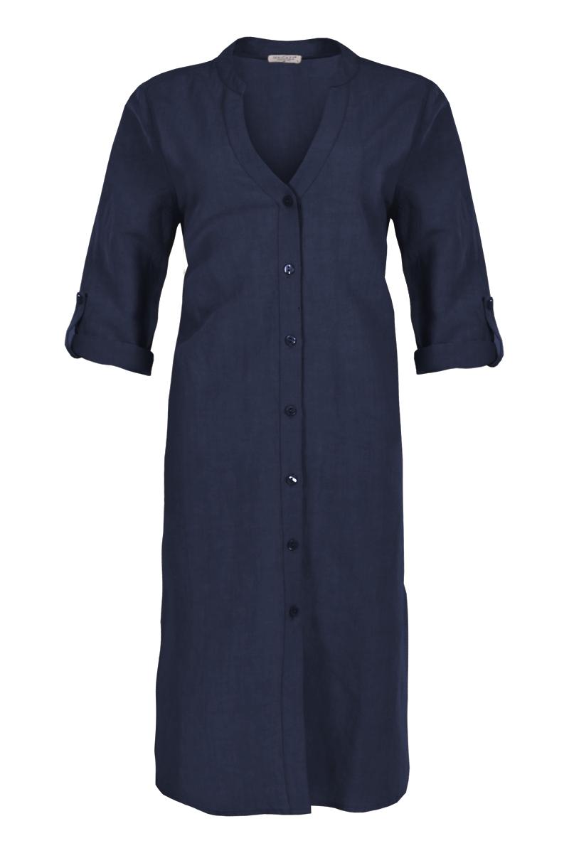 Linnen jurk met een mooie sierlijke decolleté verwerking
