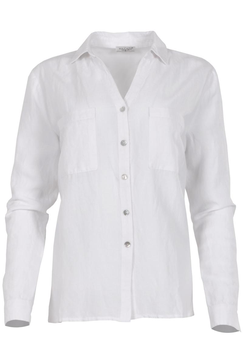 Linnen blouse met 2 borstzakken en lange mouwen