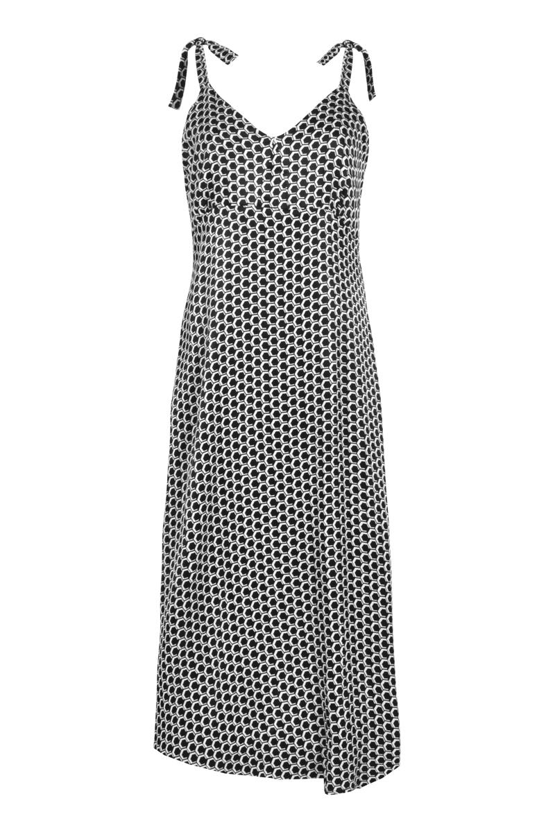 Lange jurk met wijde rok en spaghetti bandjes