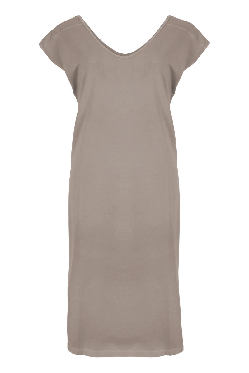 mouwloze jurk in een afgewassen cotton lycra
