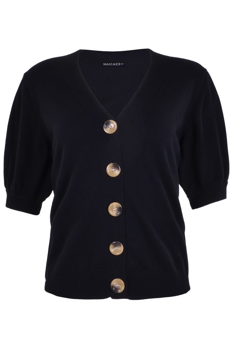 Vest Suus is een kort fijnbrei vest. Ze heeft een mooie kraag in V-hals en korte mouwen met pof. Het vestje valt soepel en heeft een knoopsluiting met 5 bruine knopen. Vest Suus is verkrijgbaar in Offwhite, Sky Blue, Black en Sand.   <ul> <li>Kort fijnbrei vest</li> <li>Mooie V-hals kraag</li> <li>Korte mouwen met pof</li> <li>Knoopsluiting met 5 bruine knopen</li> <li>Valt normaal qua maat</li> <li>Model Suus</li> <li>Verkrijgbaar in Offwhite, Sky Blue, Black en Sand</li> </ul>