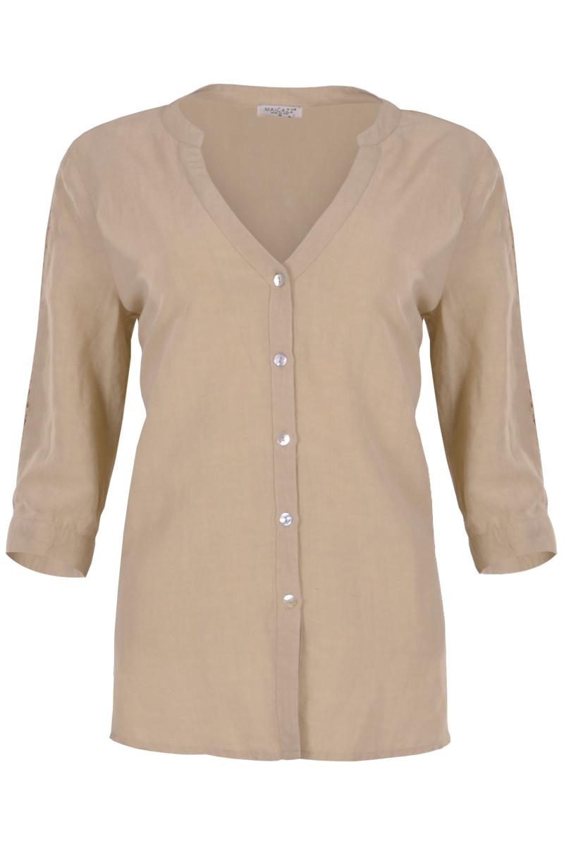 Linnen blouse met V kraag en knoopsluiting